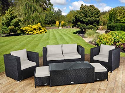 StellaHome Outdoor Patio Furniture Sectional Wicker 6Pcs Sofa Couch Set  Waterproof Cushioned W/Free Rain