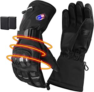 GMAYOO Heated Gloves for Men Women Electric Rechargeable Battery Gloves for Motoecycle Touchscreen Thermal Heat Gloves Waterproof Cycling Gloves Leather Gloves for Outdoor Sports