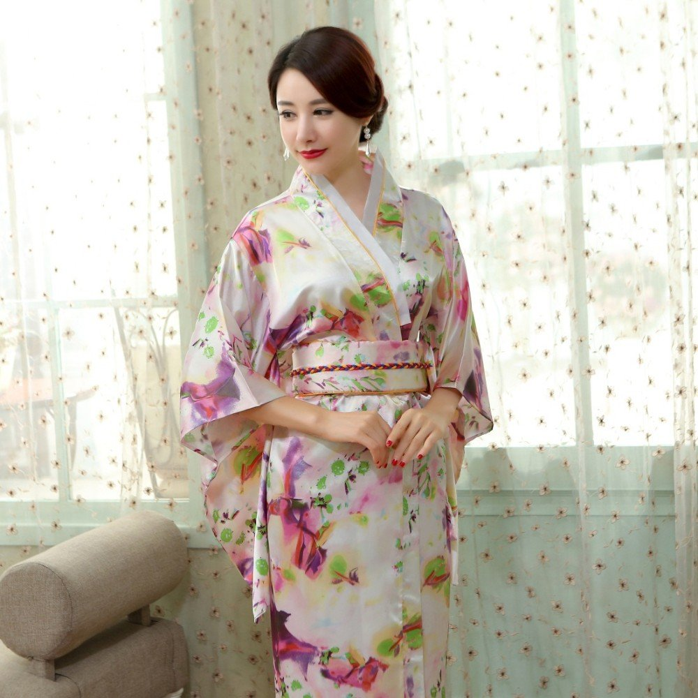 ad9fe1b268 Amazon.com  Satin Silk Robes Women Bathrobes Long Dressing Gown Flora Silk  Pajamas Robe Femme Korean Hanbok Long Japanese Kimono (Kimono1)  Clothing