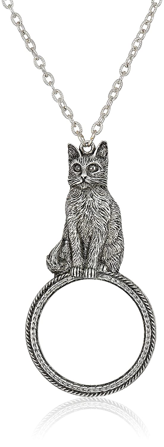 Silver One Size 1928 Jewelry Womens Pewter Cat Magnifying Glass Pendant Necklace 30 inch