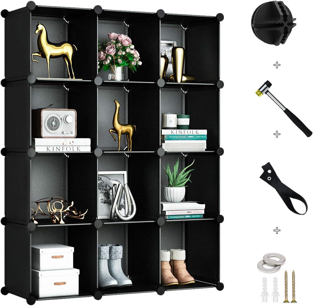 Greenstell Cube Storage Organizer, Plastic Modular Closet Organizer, 12-Cube Storage Cubes Organizer, Cube Storage Cabinet Book Shelf Shelving for Bedroom, Living Room, Office Black