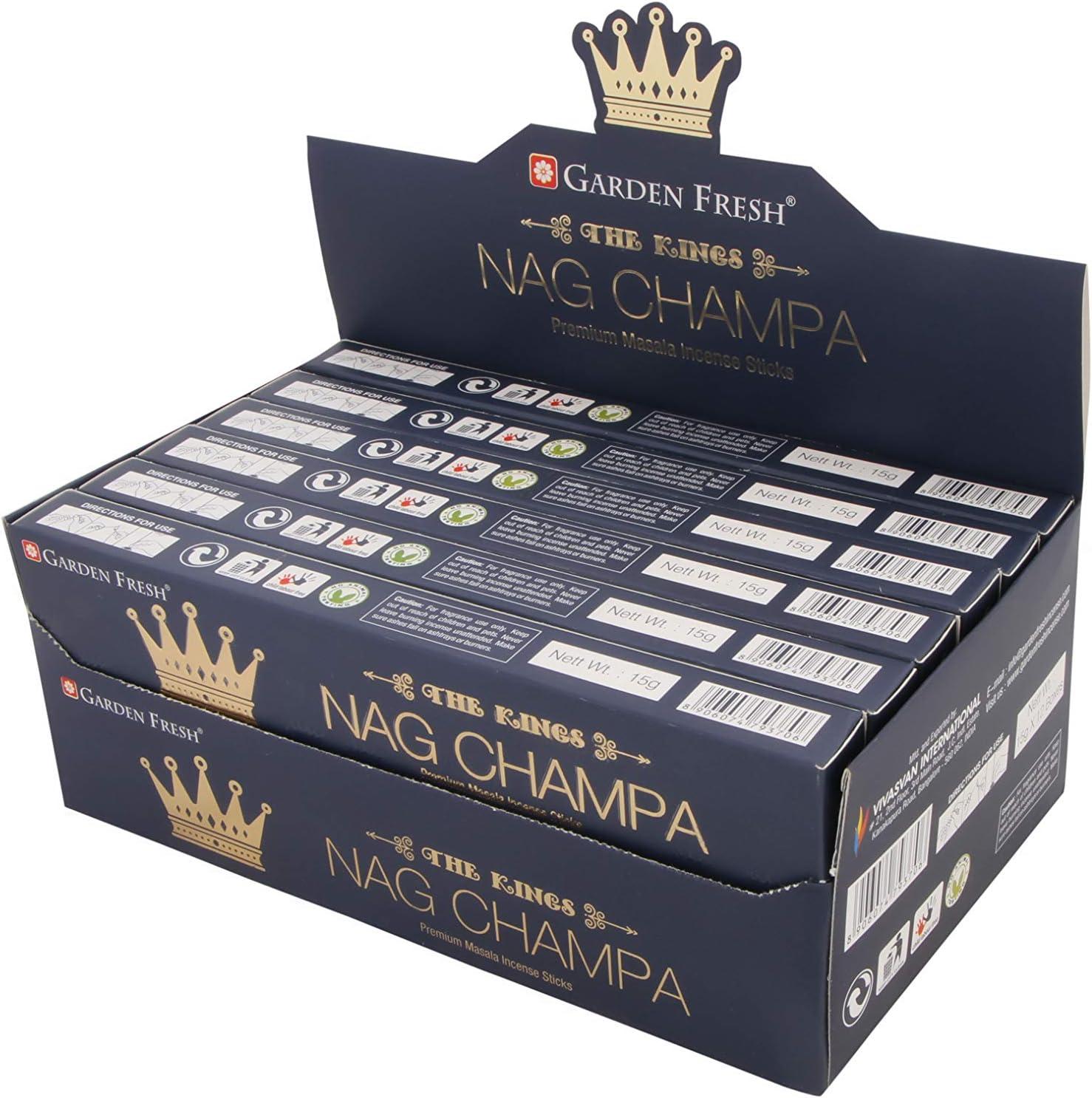Incienso Premium Nag Champa | 12 Paquetes de 15 Gramos Cada uno en una Caja | Caja de 180 Gramos | Incienso Puro y Natural