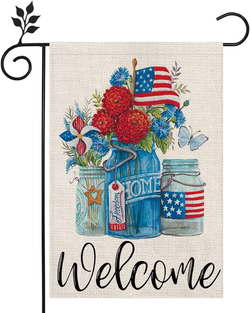 CROWNED BEAUTY Patriotic American Star and Strip Floral Welcome Garden Flag 12×18 Inch Double Sided 4th of July Independence Day Memorial Day Yard Outdoor Decor CF126-12