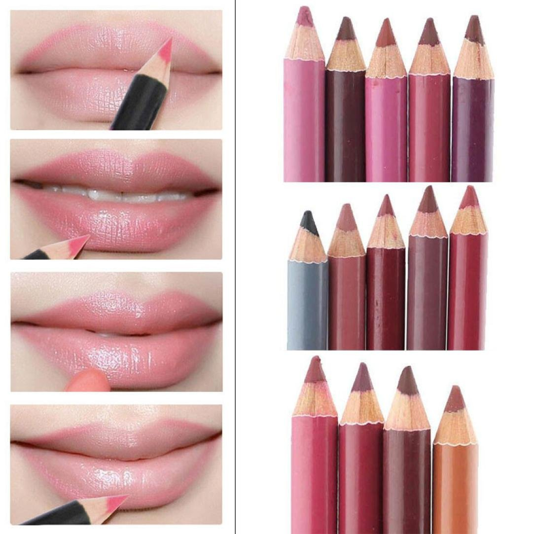 Schmink Pinsel, Amlaiworld Damen Lipliner wasserdicht Lip Liner Pencil 15CM 12 Farben pro Set neu 565