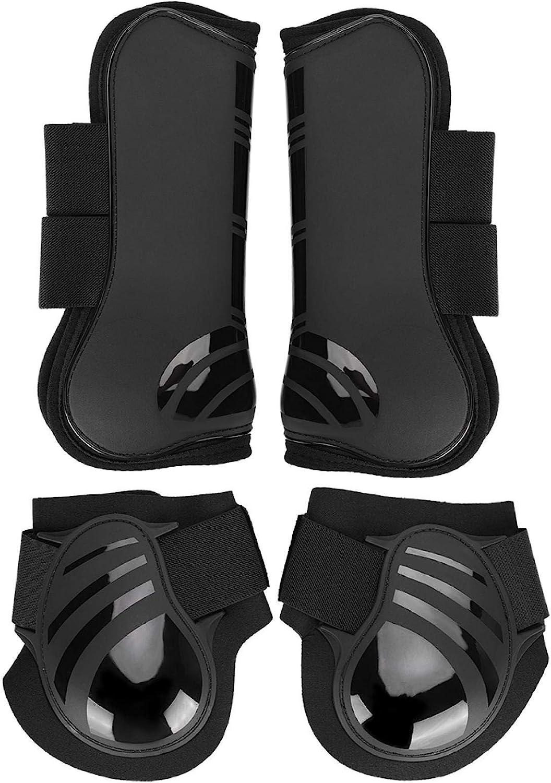 Bota de caballo, 2 pares de botas de pata trasera delanteras de caballo Botas de pata de caballo ajustables elástico grueso PU Protector de patas de bota de caballo para entrenamiento Jumpin(M-NEGRO)