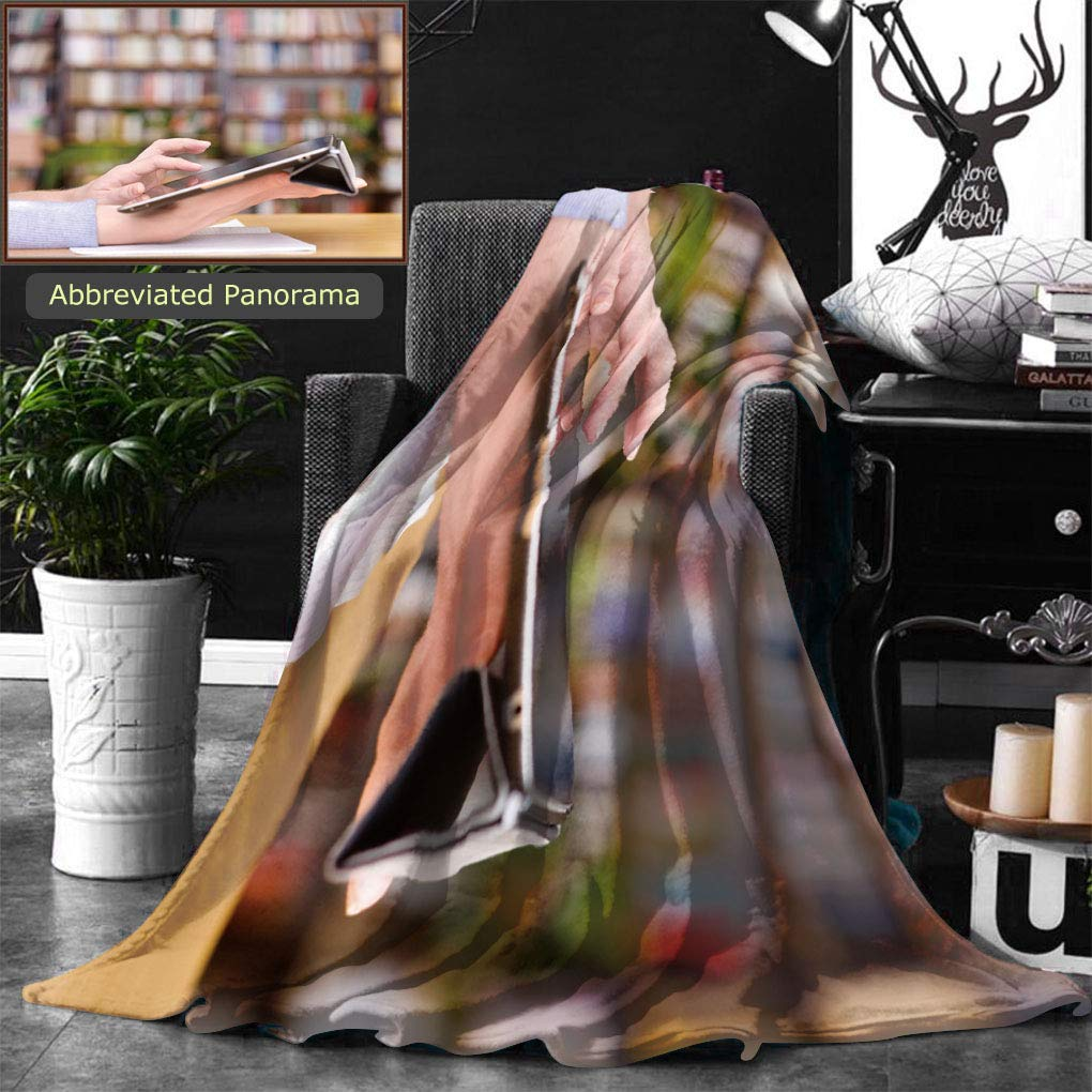 Ralahome Unique Custom Double Sides Print Flannel Blankets Hands Typing On Tablet In College Class Super Soft Blanketry for Bed Couch, Twin Size 80 x 60 Inches
