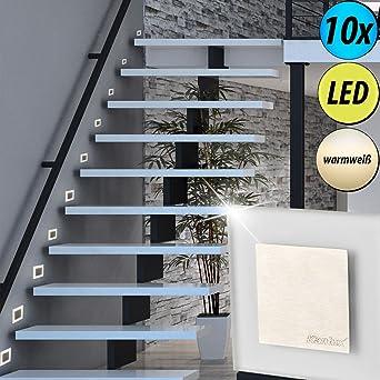 Juego de 10 focos LED Wall escaleras casa escaleras de iluminación salón techo empotrar focos: Amazon.es: Iluminación