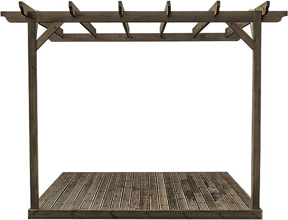 Rutland County Garden Furniture Montado en la Pared Kit de Pergola de Madera y Cubiertas: Amazon.es: Jardín
