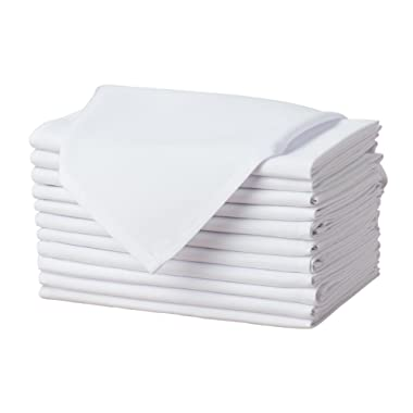 Remedios Set of 12 Oversized 17x17 Polyester Cloth Napkins Wedding Restaurant Banquet Home Dinner, White
