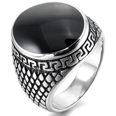 MunkiMix Acero Inoxidable Esmalte Enamel Anillo Ring El Tono De Plata Negro Gótico Gothic Hombre