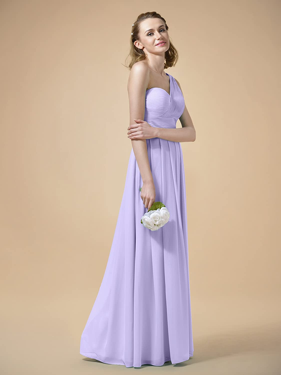 AWEI Bridal Maxi Bridesmaid Dress in One Shoulder Design Formal Pleated Evening Gown Womens Ruched Prom Dress: Amazon.co.uk: Clothing