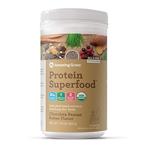 Amazing Grass Protein Superfood Vegan Protein Powder, All-in-One Nutrition Shake, Chocolate Peanut Butter, 18 Servings