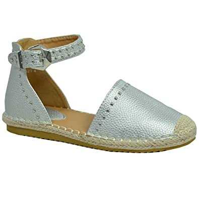 6571147870 Cucu Fashion New Womens Ankle Strap Espadrille Flats Studded Comfy Summer Shoes  Size UK