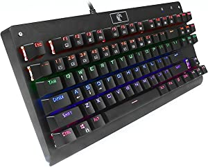 HUO JI Mechanical Gaming Keyboard, E-Element Z-77 Blue Switches,Multicolor LED Backlit, Water Resistant Tenkeyless 87 Keys Anti-Ghosting for Mac PC, Black