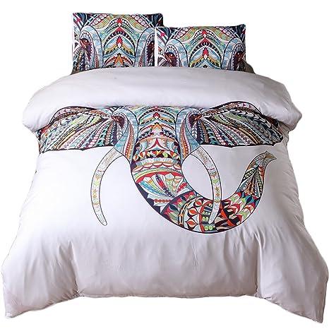 e3a86c0e01 Newdeve lenzuola piumone con elefante copertura per ragazze, Cotone con  rivestimento acrilico, White Elephant
