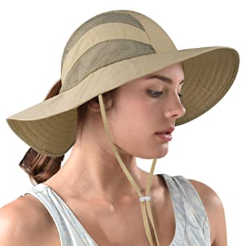 f25f8b67c FURTALK Safari Sun Hats for Women Wide Brim UV UPF Ponytail Fishing ...