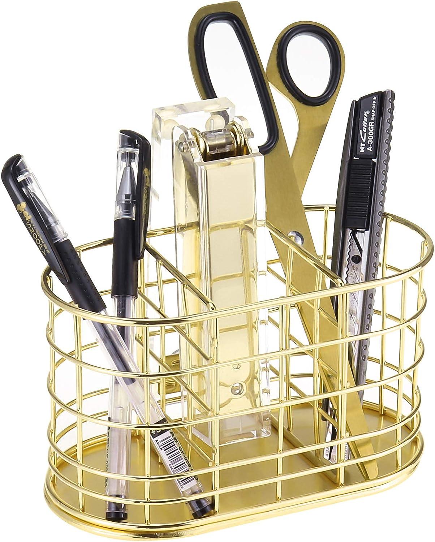 LEORISO Pen Holder with 3 Slots, Metal Desk Accessories Organizer for Home School Office Supplies Organizer, Makeup Brush Holder, Gold