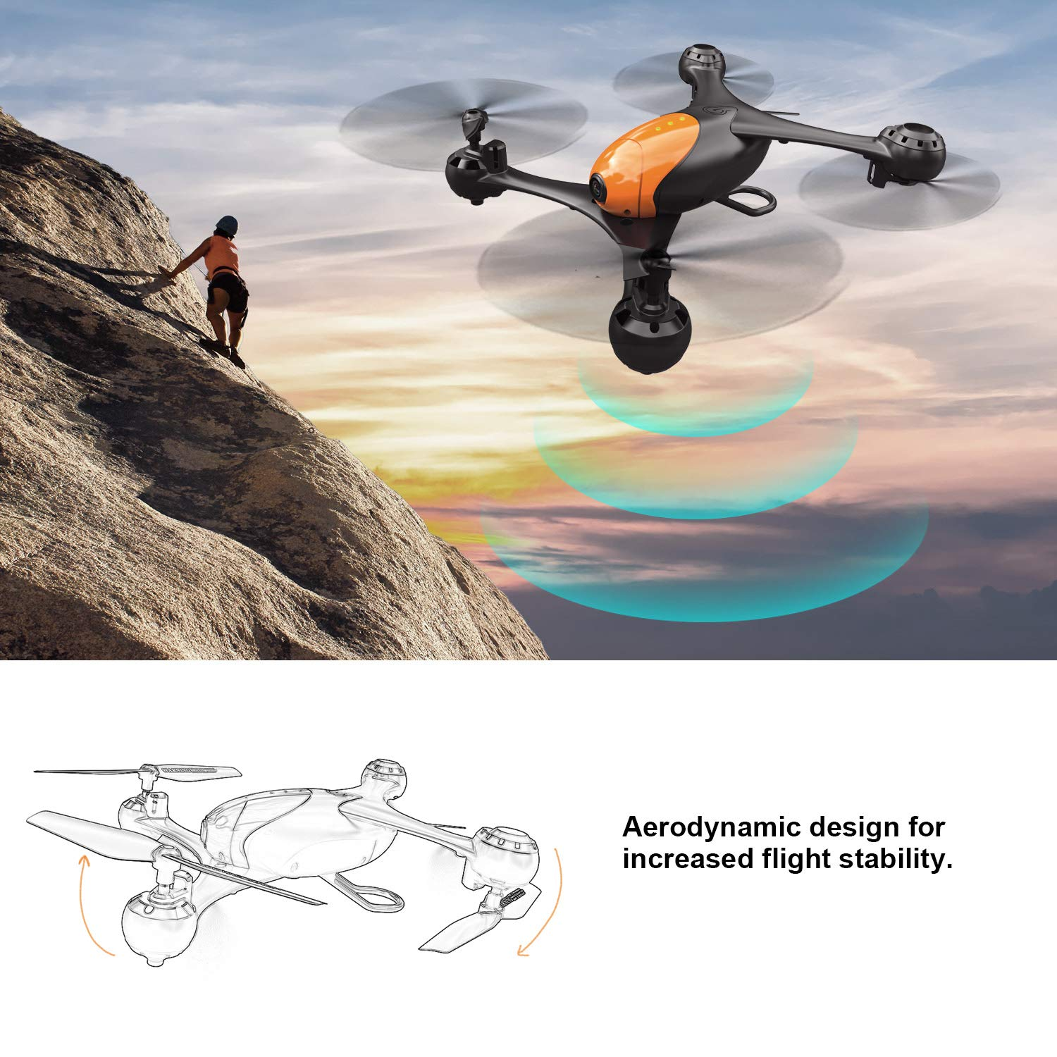 ScharkSpark Drone SS41 The Beetle Drone with 2 Cameras - 1080P FPV HD Camera/Video and 720P Optical Flow Positioning Camera, RC Toy Quadcopter Equipped with Lost-Control Protection Technology by ScharkSpark (Image #6)