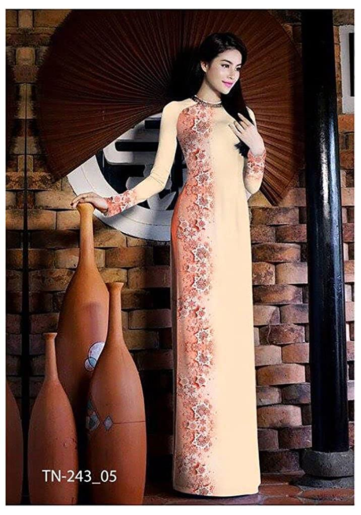 Ao Dai Traditional Vietnamese Long Dress Collections with Pants Silk 3D ADVN1392