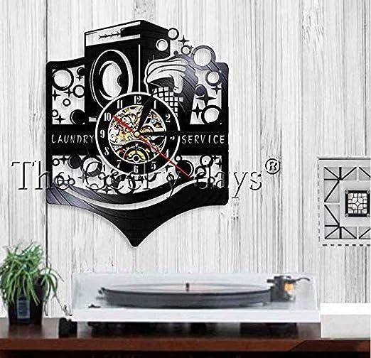 Yddlie Reloj de Pared Logotipo de lavandería Letrero Comercial ...