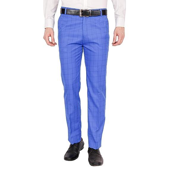 Rocksy Men S Regular Fit Formal Checkered Cotton Trouser Wrinkle