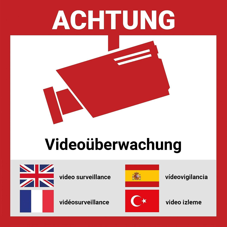 Aufkleber Videoü berwacht mehrsprachig | 12 Stü ck - 15 * 15cm | Hochwertig mit UV-Schutz, 5 Sprachen, Schilder Videoü berwachung LabelDay