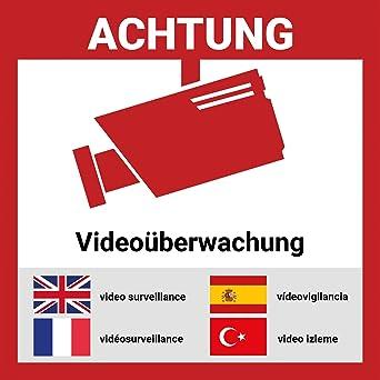 Aufkleber Videoüberwacht Mehrsprachig 12 Stück 15 15cm Hochwertig Mit Uv Schutz 5 Sprachen Schilder Videoüberwachung