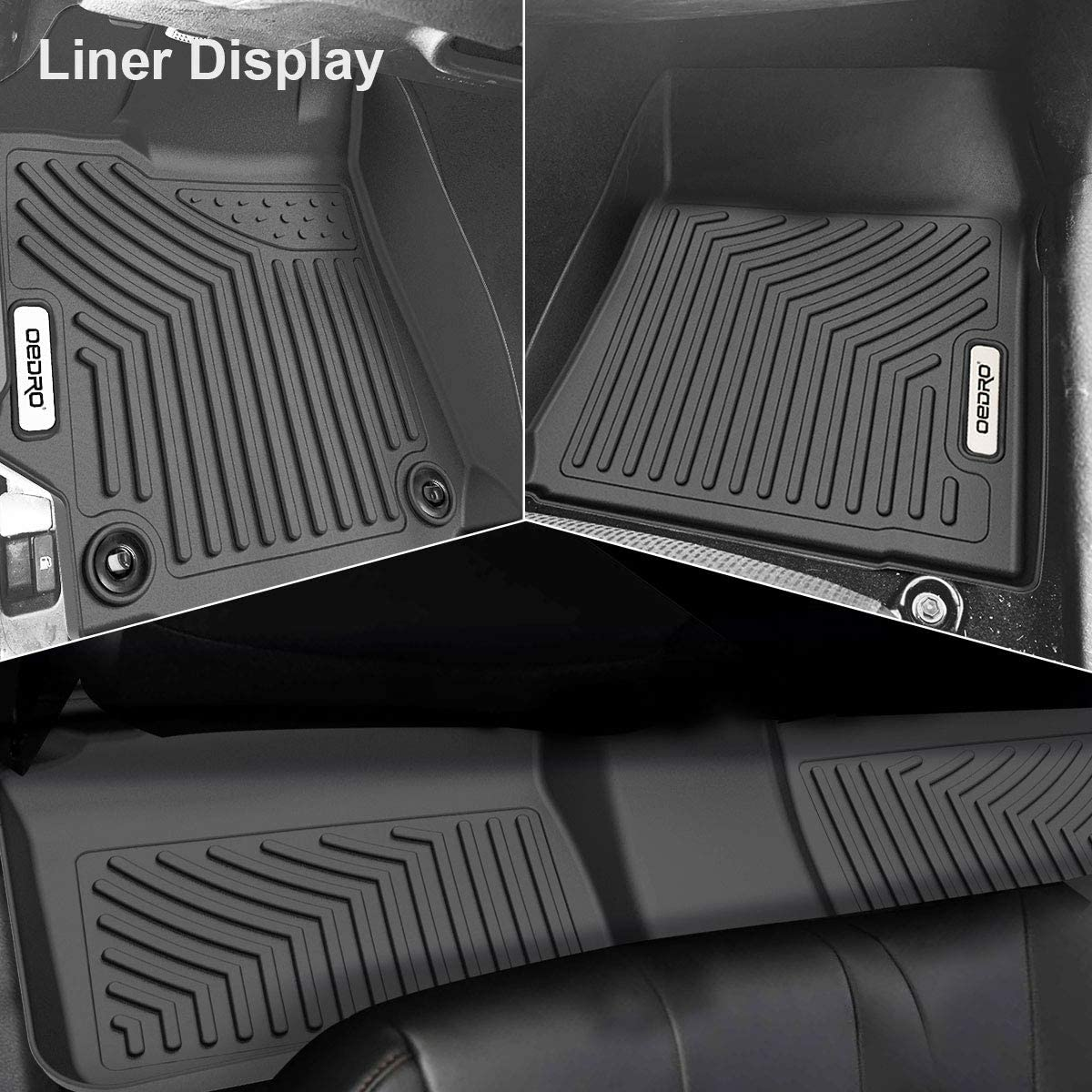 oEdRo Floor Mats Compatible with 2015-2017 Toyota Camry Standard Models Rear Full Set Liners Standard Models Only Unique Black TPE All-Weather Guard Includes 1st and 2nd Row: Front