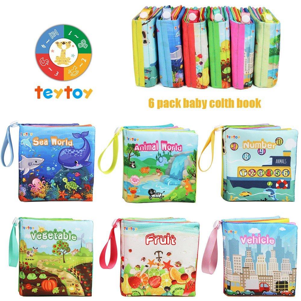 TEYTOY NEWEST 6pcs Libros blandos de Tela No Tóxica Set para Bebé, Juguete de Educación Apredizaje Preescolar Regalo Perfecto para Baño de Niños: Amazon.es: ...