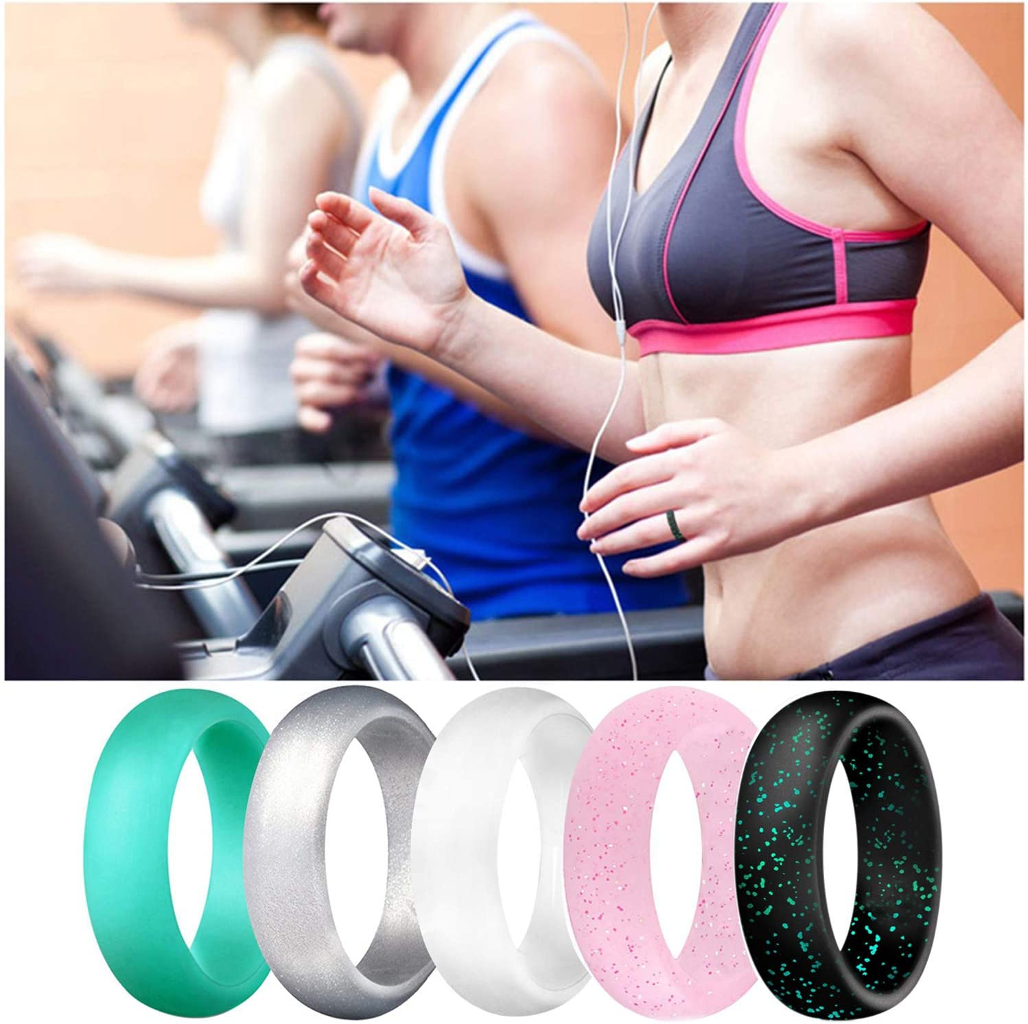 Pink Black Teal Metallic White Grey Mint Green SkullParty Silicone Wedding Ring Bands for Women 10 Pack Size 5 6 7 8 9 Womens Thin Stackable /& Flash Powder Rubber Wedding Band Rings 5.7mm /& 3mm Wide