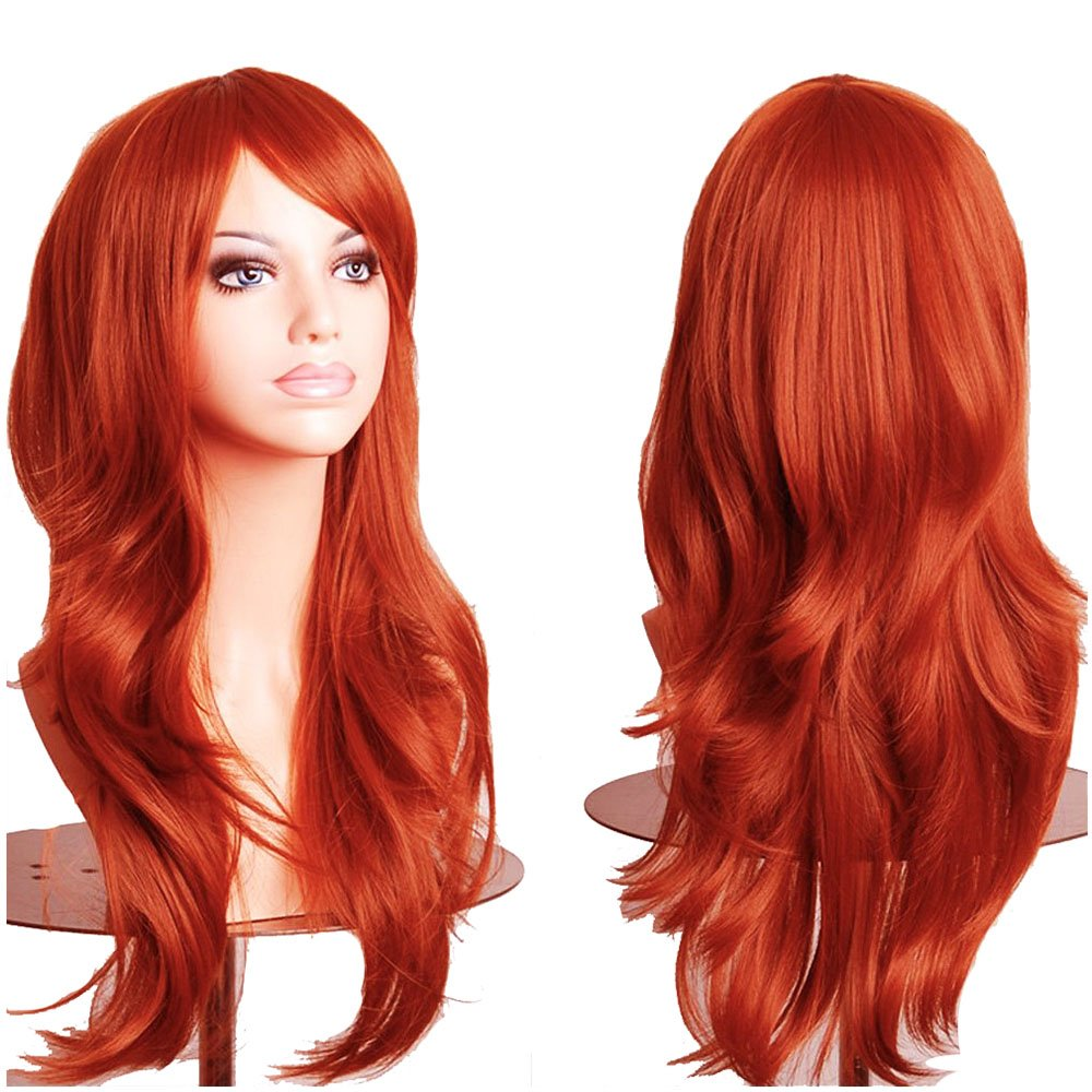 S-noilite 23''(58cm) Women Long Wavy Hair Wig Fashion Cosplay Anime Party Costume Dress Synthetic Full Wigs (Orange)