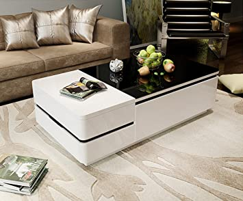 OSPI White Gloss Coffee Table/low Table With 4 Storage Drawers Black  Tempered Glass Top