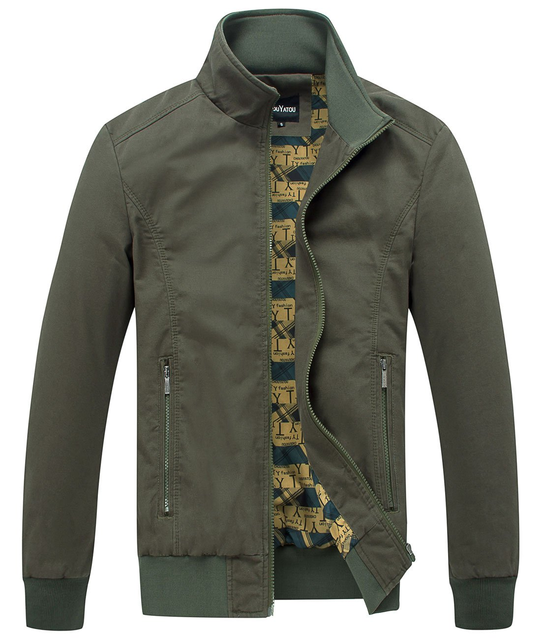 chouyatou Men's Essential Cotton Lightweight Bomber Jacket (Medium, Army) by chouyatou