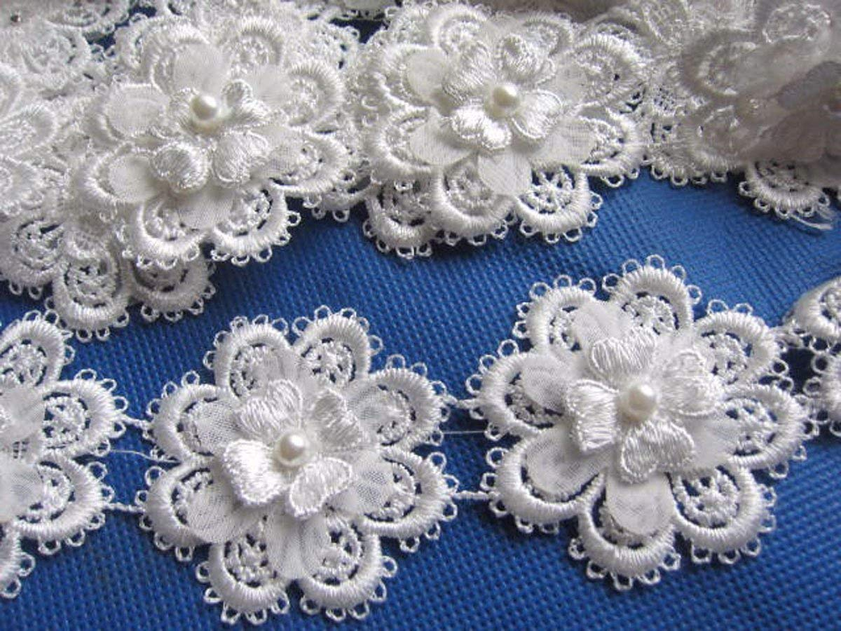 YYCRAFT Pack Of 2y Flower Lace Edge 2 Trim Ribbon Wedding Applique DIY Sewing Crafts-White