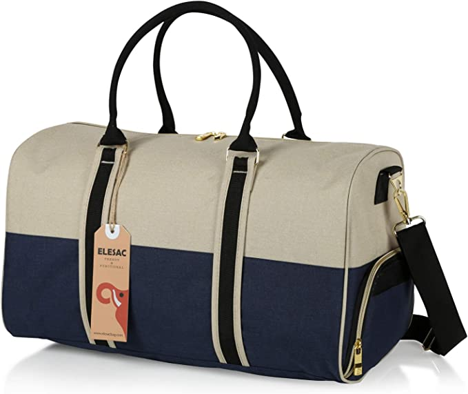 Travel Duffel Express Weekend Bag for Gym Overnight Baggage Carry On Hand Luggage and Short Trips EleSac Canvas Style Duffel Bag for Men and Women with Shoe Compartment Royal Blue Coral Red