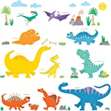 Decowall DW-1703 Colourful Dinosaur Kids Wall Stickers Wall Decals Peel and Stick Removable Wall Stickers for Kids Nursery Bedroom Living Room