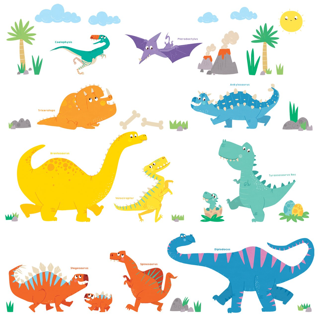Decowall DW-1803 A-Z Dinosaur Alphabet ABC Wall Stickers Wall Decals Peel and Stick Removable Wall Stickers for Kids Nursery Bedroom Living Room