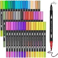 Marcadores Punta Pincel 48 Colores, Plumones Punta Pincel de 48 Colores,Marcadores Rotuladores Acuarelables con Doble…