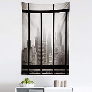 "Ambesonne City Tapestry, Philadelphia City Rooftop View Through Window Skyline Landmark Rooftop Travel, Fabric Wall Hanging Decor for Bedroom Living Room Dorm, 30"" X 45"", Grey Black"