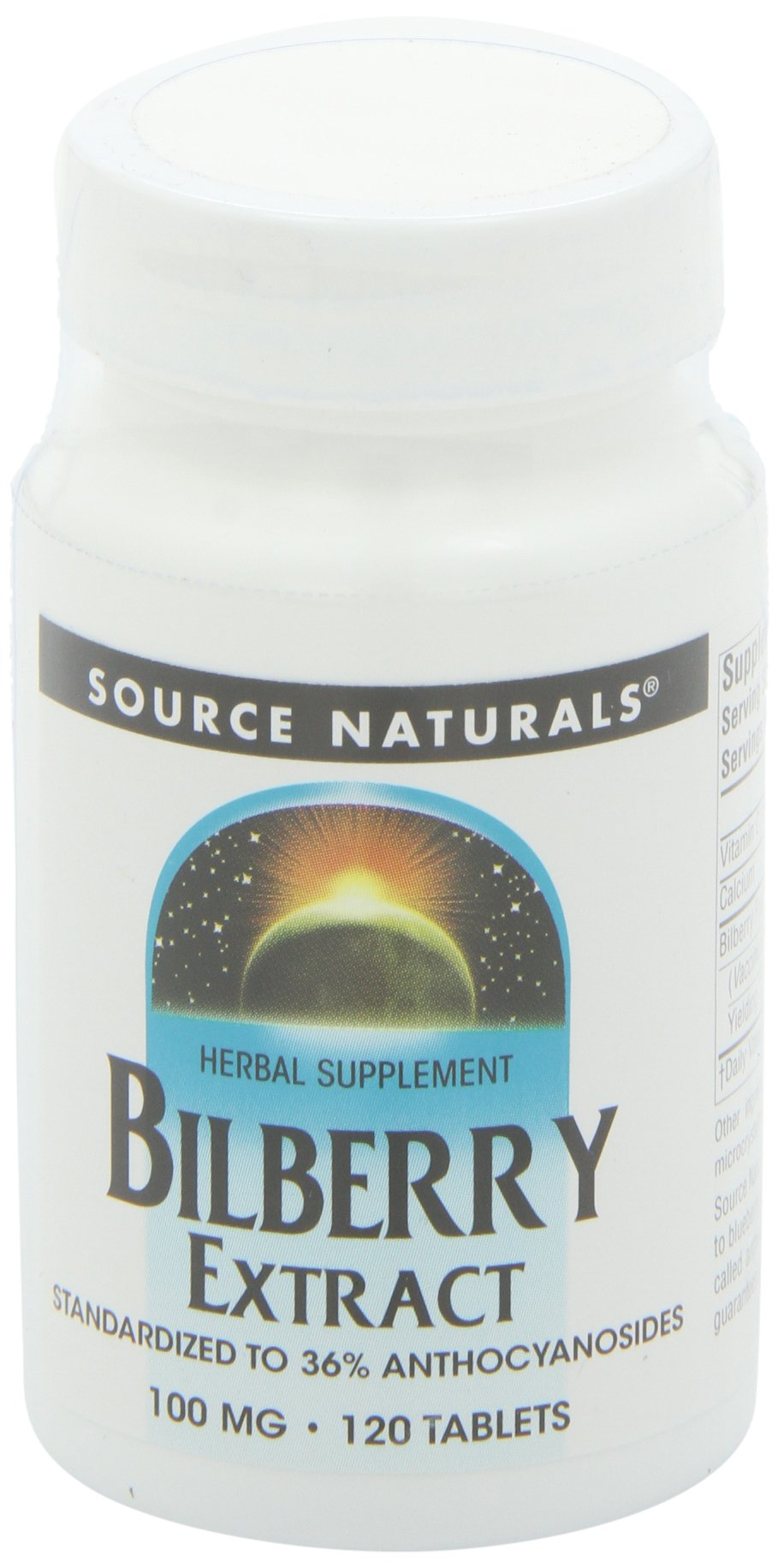Source Naturals Bilberry Extract 100mg, Standardized Botanical Antioxidant, 120 Tablets