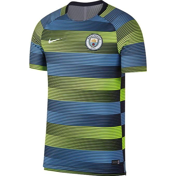 the best attitude 6cb21 b5914 NIKE 2018-2019 Man City Pre-Match Training Shirt (Volt-blue)