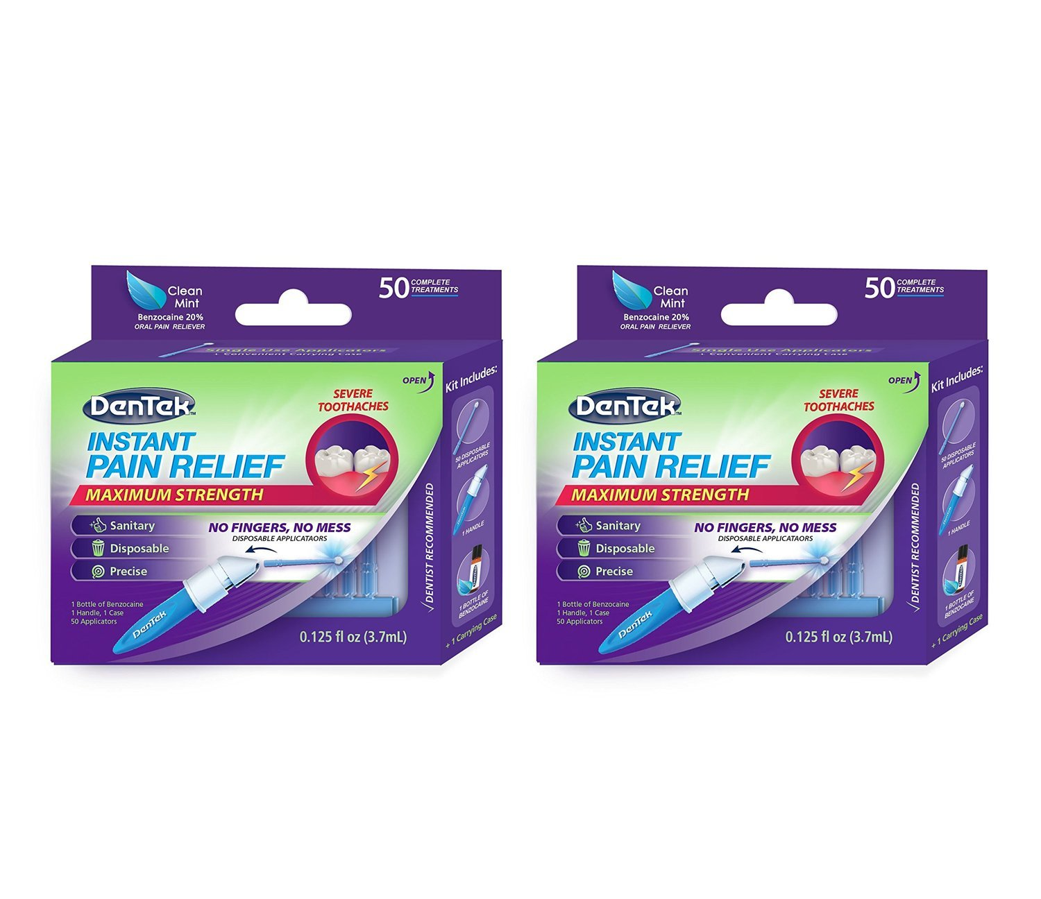 DenTek Instant Oral Pain Relief Maximum Strength Kit for Toothaches | 50-Count per pack | 2-Pack : Beauty