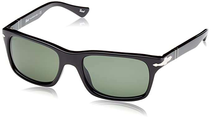 bb2f60ccb9a Image Unavailable. Image not available for. Colour  Persol Men s PO3048S-95  31-58 Black Rectangle Sunglasses