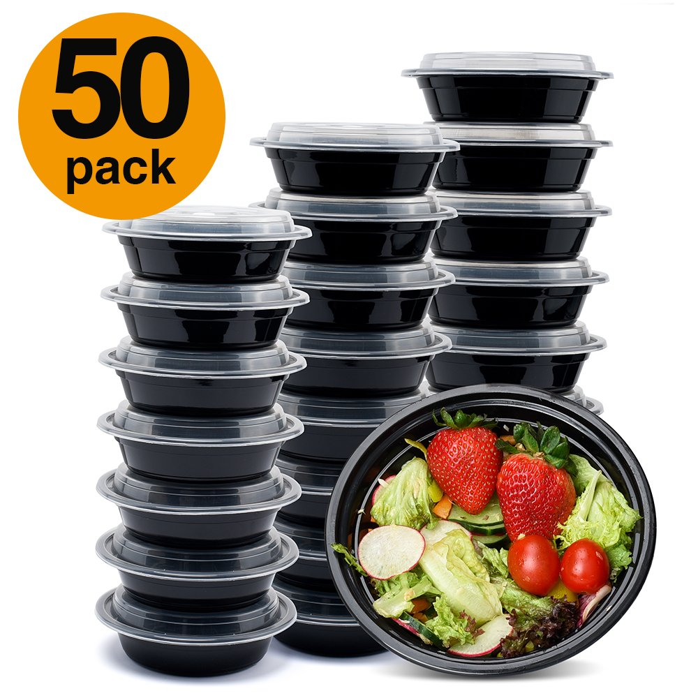 Glotoch Meal Prep Containers, 20 Pack Wholesale 1 Compartment Round Food Storage Containers Bento Box-Microwave, Freezer & Dishwasher Safe - Eco Friendly Safe Food Container (24 oz) 2312013BK30-GLO-US-AM