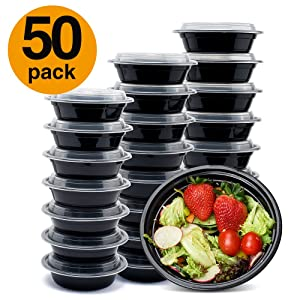 Glotoch 24ounce Meal Prep Containers, 50 Pack Wholesale 1 Compartment Round Food Storage Containers Bento Box-Microwave, Freezer & Dishwasher Safe - Eco Friendly Safe Food Container