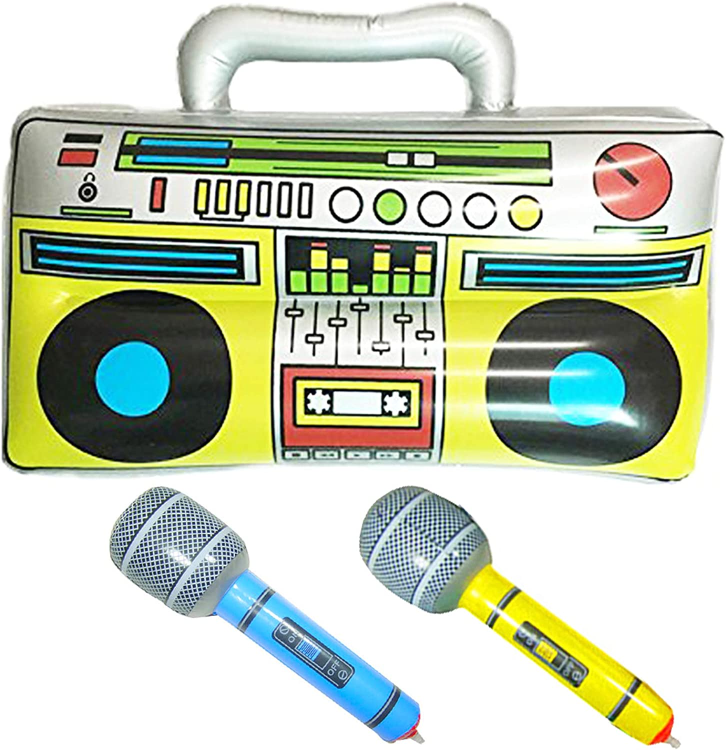 """GuassLee 16"""" Party Inflatable Boom Box PVC Radio + 2 Microphones for Inflatable Props 80s Party Decorations"""