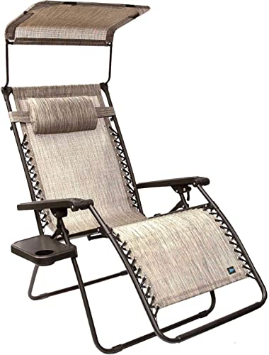 Bliss Hammocks Zero Gravity Chair with Canopy and Side Tray, Platinum Gray, 31 Wide