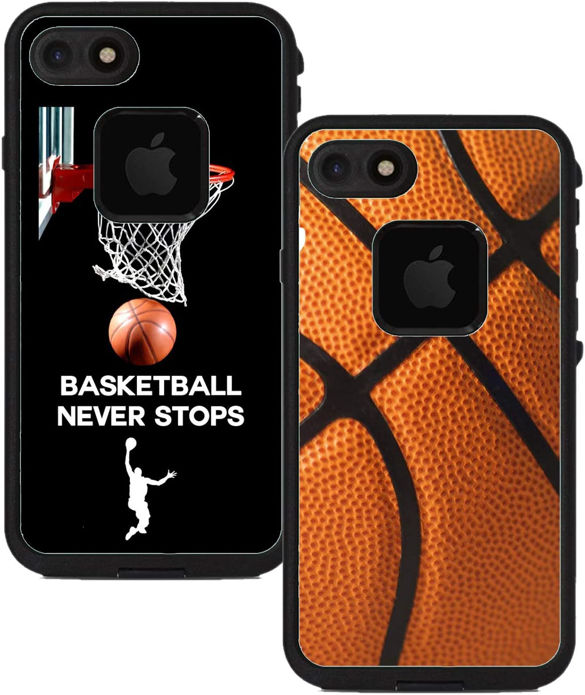 Teleskins Protective Designer Vinyl Skin Decals Compatible with Lifeproof Fre iPhone 7 / iPhone 8 / SE 2020 Case - Basketball and Basketball Never Stops [Pack of 2 Skins] - Only Skins and Not Case