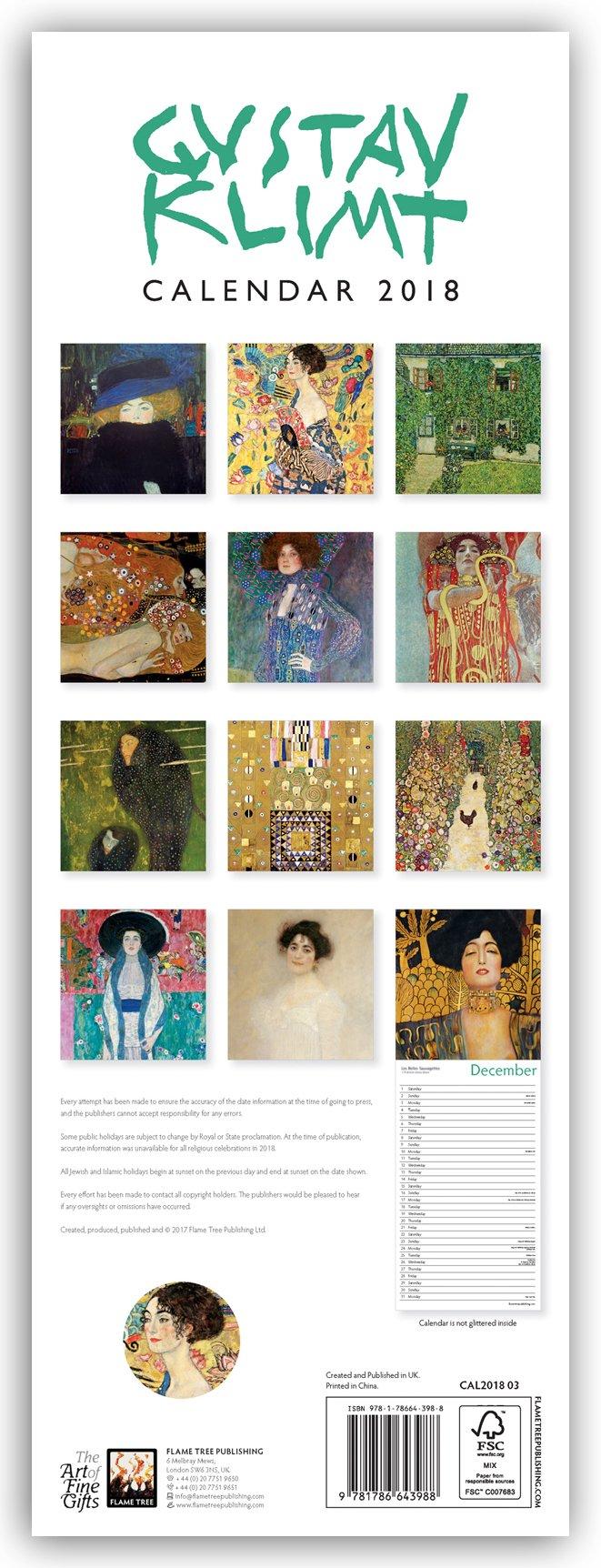 Gustav Klimt Wall Calendar 2018 (Art Calendar): 9781786643988: Amazon.com:  Books