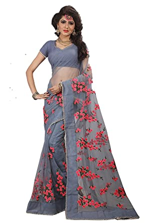 b4a91a8fbb Radiance Star Women's Net Flower Design Embroidery Work Saree with Banglori  Silk Blouse Piece (Grey, Free Size): Amazon.in: Clothing & Accessories